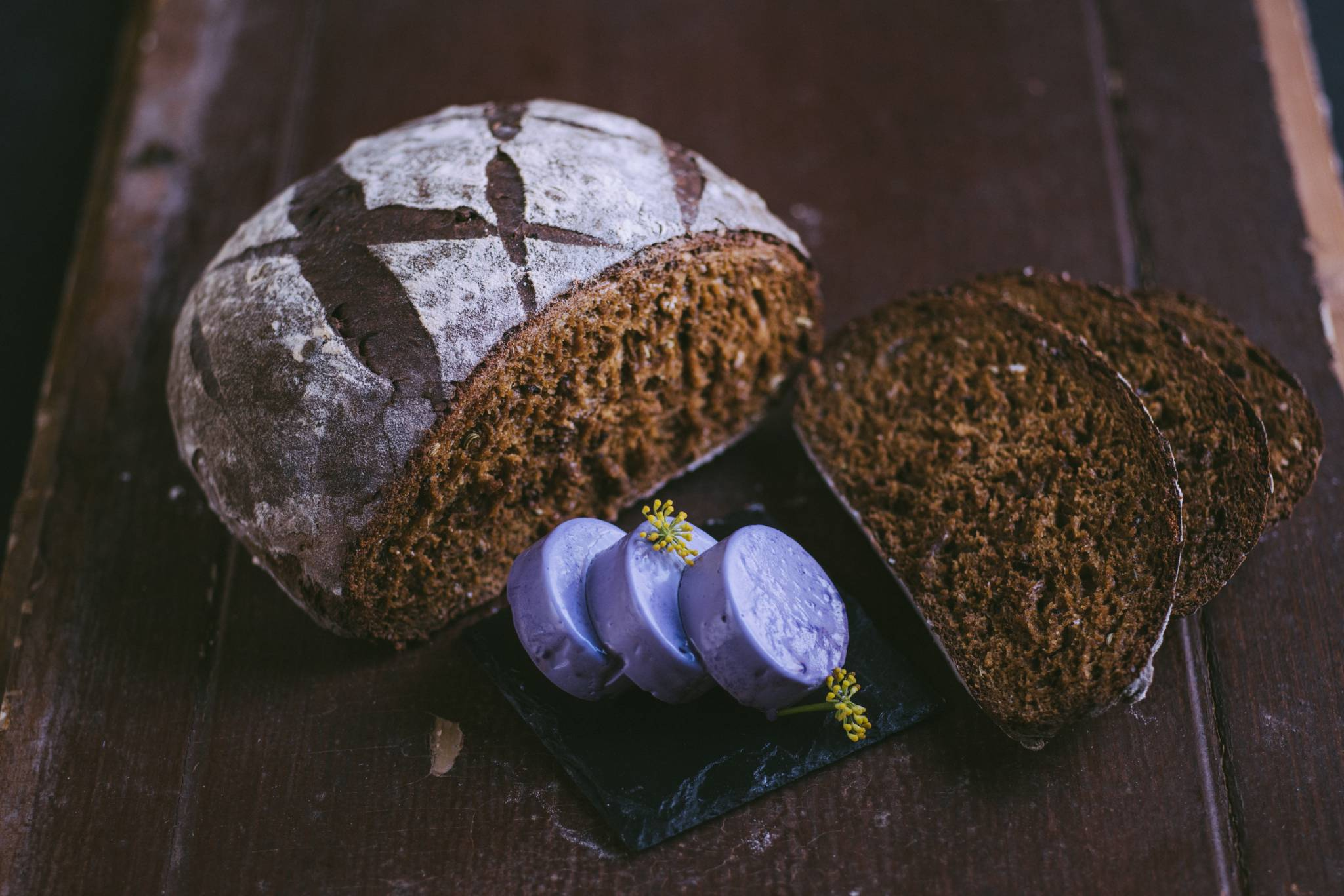 Rye Bread with Red Cabbage Butter
